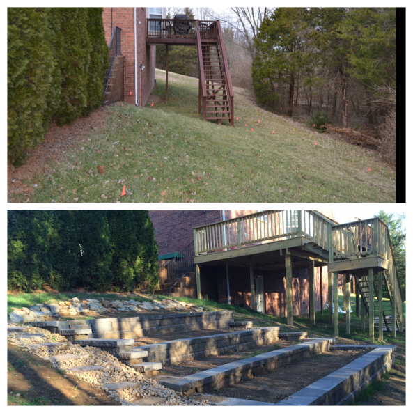 Here's a look at the steep slope behind our house.  I hated mowing this.  The stairs were very long, narrow, and dangerous.  You can see now, we have added a terraced step down garden, and the new deck was added on to the old.