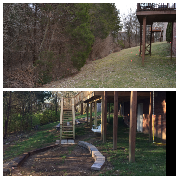 Here's a look from the other side of the house.  You can see how steep the yard was.  Now, we have a little area leveled off (i'm going to turn that into a paver patio).  You can also see a swing for Josie, a porch swing for us.  I love how the stairs turned out!