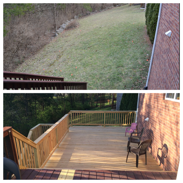 Here's how it looked before the renovation from the deck toward the south of the house.  Now, from the same place, you can see the addition.  (We will have to save to buy new deck furniture...)